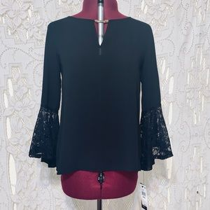 BCX Black 3/4 bell sleeve top size small BNWT